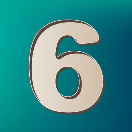 Number 6 sign design template element. Vector. Icon printed at 3d on sea color background.