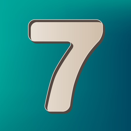 Number 7 sign design template element. Vector. Icon printed at 3d on sea color background. Illustration