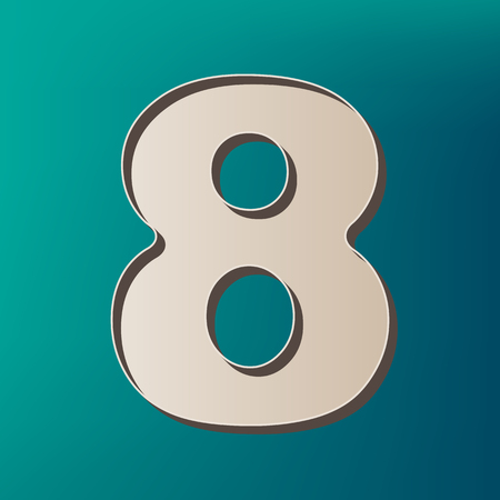 Number 8 sign design template element. Vector. Icon printed at 3d on sea color background.