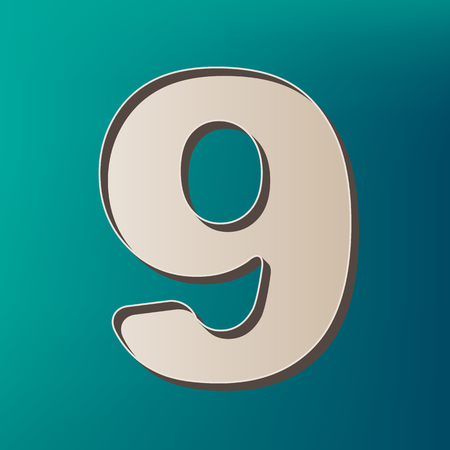 Number 9 sign design template element. Vector. Icon printed at 3d on sea color background.