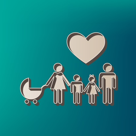 Family sign with heart. Husband and wife are kept childrens hands. Vector. Icon printed at 3d on sea color background. Illustration