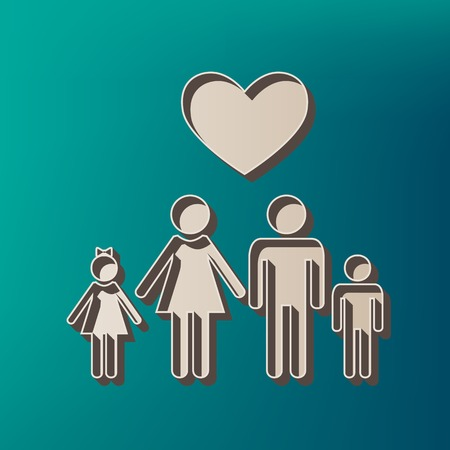 Family symbol with heart. Husband and wife are kept childrens hands. Love. Vector. Icon printed at 3d on sea color background.