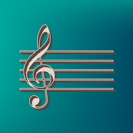 chiave di violino: Music violin clef sign. G-clef. Vector. Icon printed at 3d on sea color background. Vettoriali