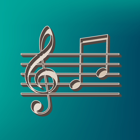 chiave di violino: Music violin clef sign. G-clef and notes G, H. Vector. Icon printed at 3d on sea color background. Vettoriali