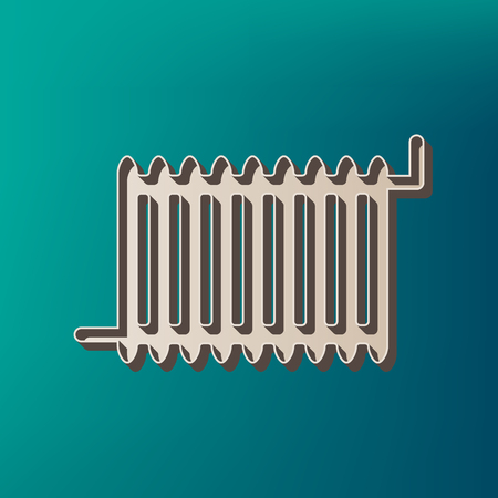 Radiator sign. Vector. Icon printed at 3d on sea color background.