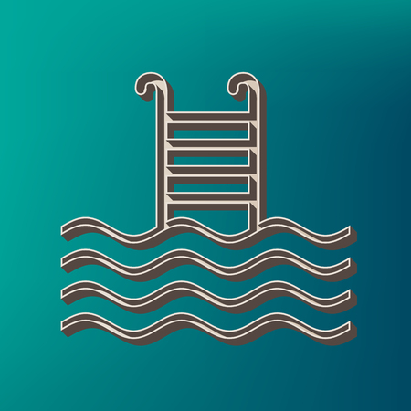 Swimming Pool sign. Vector. Icon printed at 3d on sea color background. Illustration