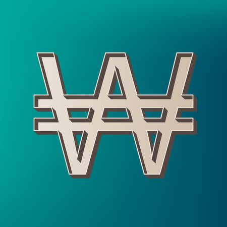 new account: Won sign. Vector. Icon printed at 3d on sea color background.