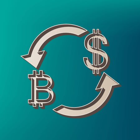 abstract recycle arrows: Currency exchange sign. Bitcoin and US Dollar. Vector. Icon printed at 3d on sea color background.