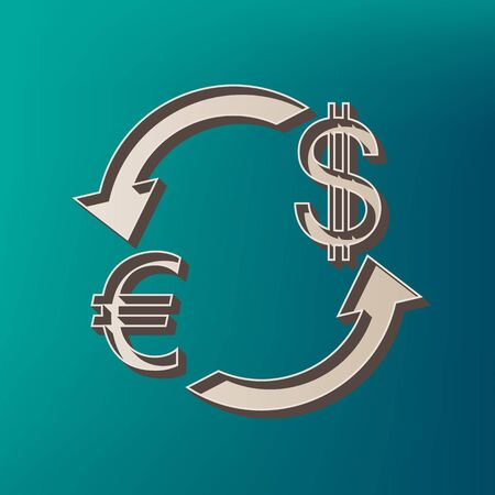 abstract recycle arrows: Currency exchange sign. Euro and US Dollar. Vector. Icon printed at 3d on sea color background.