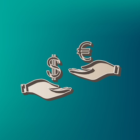 Currency exchange from hand to hand. Dollar adn Euro. Vector. Icon printed at 3d on sea color background.