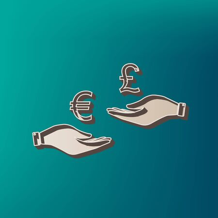 Currency exchange from hand to hand. Euro and Puond. Vector. Icon printed at 3d on sea color background. Illustration