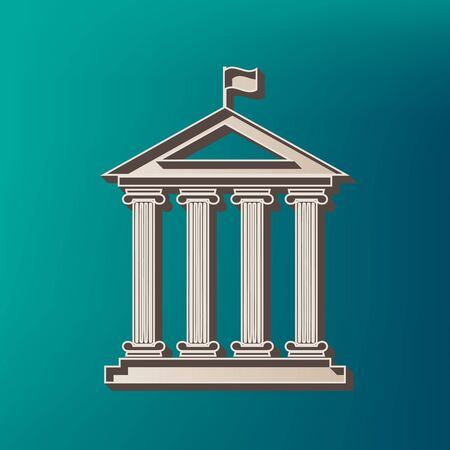 derecho romano: Historical building with flag. Vector. Icon printed at 3d on sea color background. Vectores