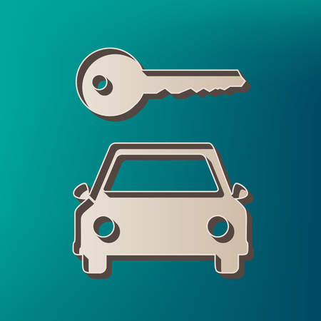 rent index: Car key simplistic sign. Vector. Icon printed at 3d on sea color background. Illustration