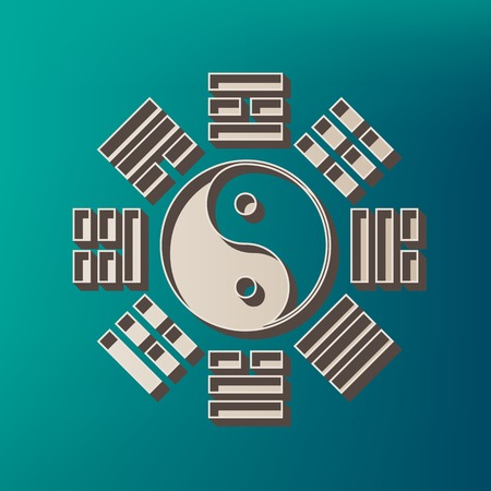 trigram: Yin and yang sign with bagua arrangement. Vector. Icon printed at 3d on sea color background. Illustration