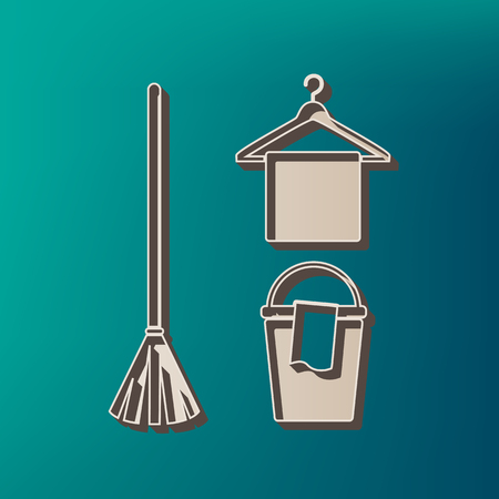 Broom, bucket and hanger sign. Vector. Icon printed at 3d on sea color background. Illustration