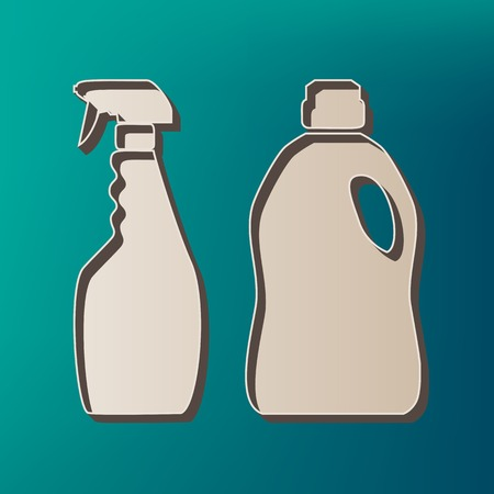 Household chemical bottles sign. Vector. Icon printed at 3d on sea color background.