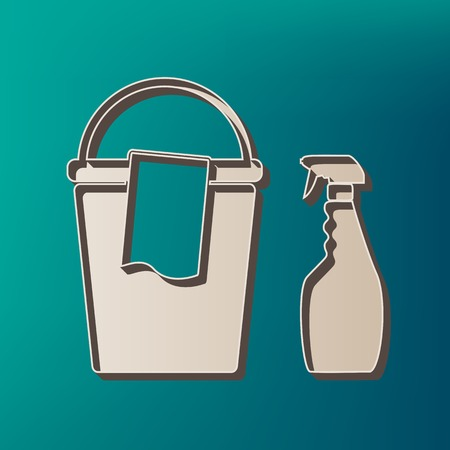 Bucket and a rag with Household chemical bottles. Vector. Icon printed at 3d on sea color background.