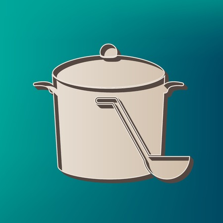 Pan with steam sign. Vector. Icon printed at 3d on sea color background. Illustration