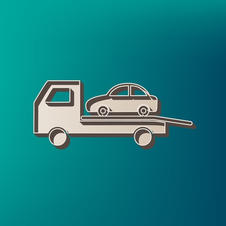 the wrecker: Tow car evacuation sign. Vector. Icon printed at 3d on sea color background. Illustration