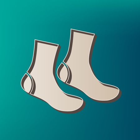 Socks sign. Vector. Icon printed at 3d on sea color background.