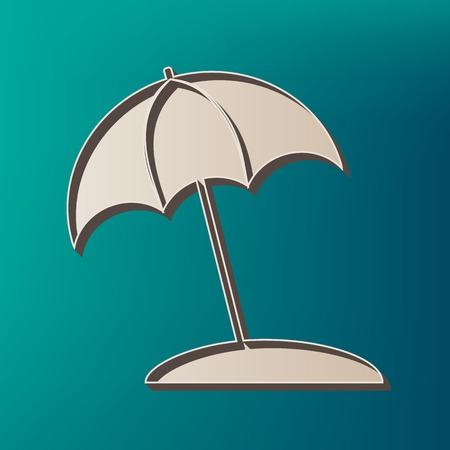 sunshade: Umbrella and sun lounger sign. Vector. Icon printed at 3d on sea color background.
