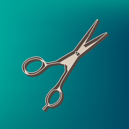 Hair cutting scissors sign. Vector. Icon printed at 3d on sea color background.