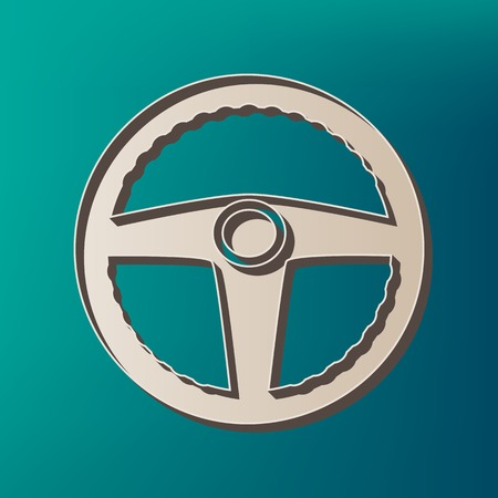 Car driver sign. Vector. Icon printed at 3d on sea color background. Illustration
