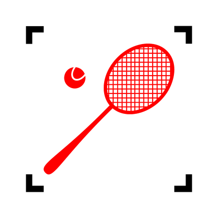 handled: Tennis racquet sign. Vector. Red icon inside black focus corners on white background. Isolated. Illustration