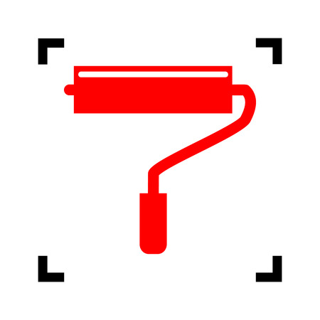 roller brush: Roller sign illustration. Vector. Red icon inside black focus corners on white background. Isolated. Illustration