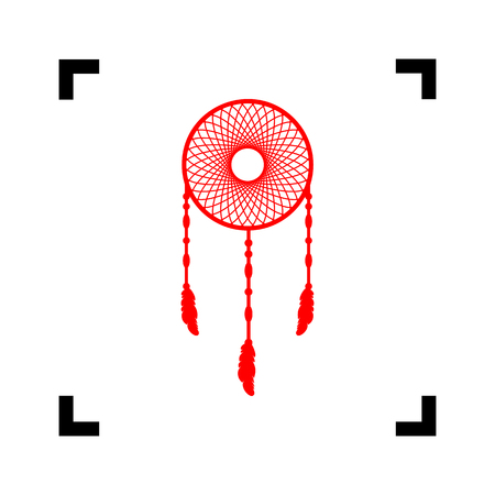 swelled: Dream catcher sign. Vector. Red icon inside black focus corners on white background. Isolated. Illustration