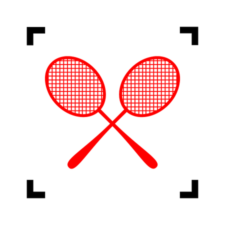 Tennis racquets sign. Vector. Red icon inside black focus corners on white background. Isolated. Illustration