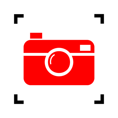 Digital photo camera sign. Vector. Red icon inside black focus corners on white background. Isolated.
