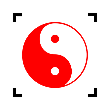 yin y yan: Ying yang symbol of harmony and balance. Vector. Red icon inside black focus corners on white background. Isolated. Vectores
