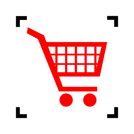 Shopping cart sign. Vector. Red icon inside black focus corners on white background. Isolated.