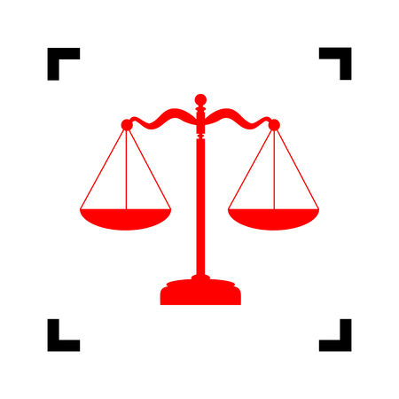 punishment: Scales balance sign. Vector. Red icon inside black focus corners on white background. Isolated. Illustration