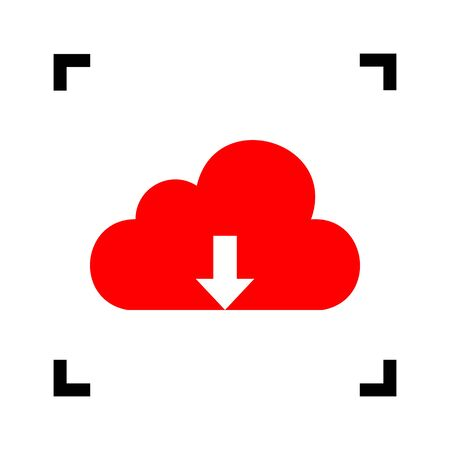 Cloud technology sign. Vector. Red icon inside black focus corners on white background. Isolated.