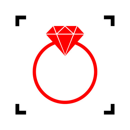 Diamond sign illustration. Vector. Red icon inside black focus corners on white background. Isolated. Illustration