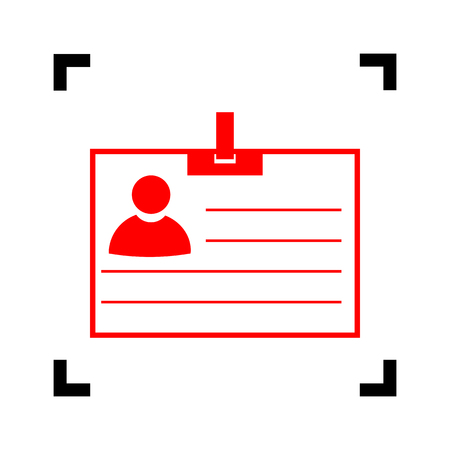 Id card sign. Vector. Red icon inside black focus corners on white background. Isolated. Illustration