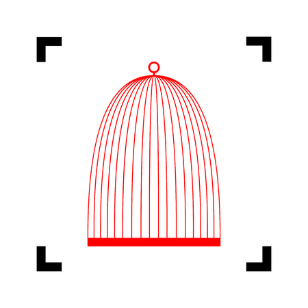 Bird cage sign. Vector. Red icon inside black focus corners on white background. Isolated.