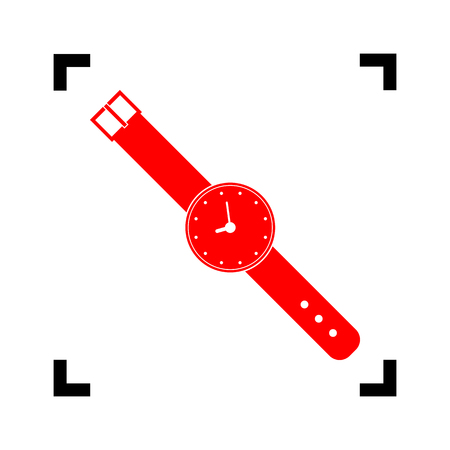 Watch sign illustration. Vector. Red icon inside black focus corners on white background. Isolated. Illustration
