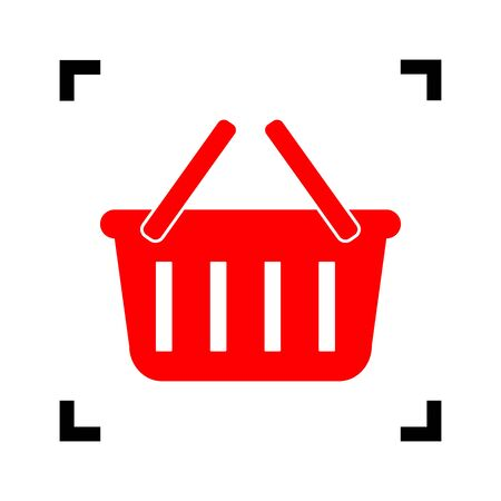 Shopping basket sign. Vector. Red icon inside black focus corners on white background. Isolated.