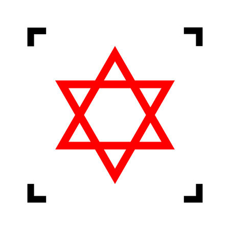 Shield Magen David Star. Symbol of Israel. Vector. Red icon inside black focus corners on white background. Isolated.