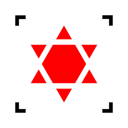 Shield Magen David Star Inverse. Symbol of Israel inverted. Vector. Red icon inside black focus corners on white background. Isolated.