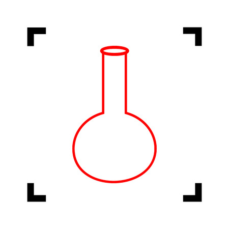 Tube. Laboratory glass sign. Vector. Red icon inside black focus corners on white background. Isolated. Foto de archivo - 105606744