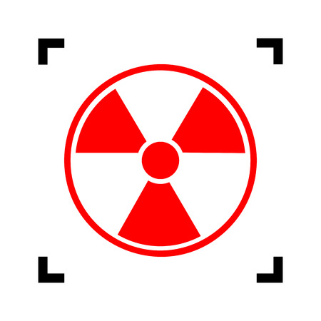 radiological: Radiation Round sign. Vector. Red icon inside black focus corners on white background. Isolated.