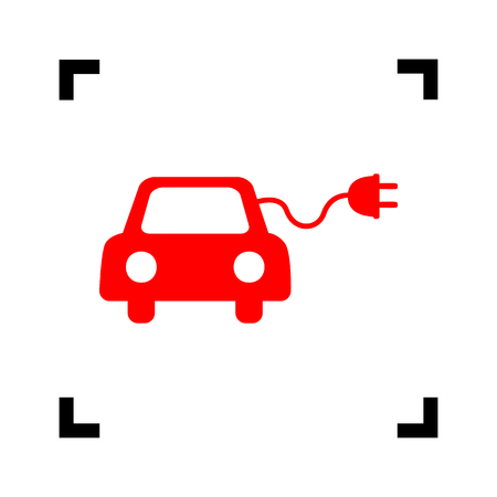 echnology: Eco electric car sign. Vector. Red icon inside black focus corners on white background. Isolated. Illustration