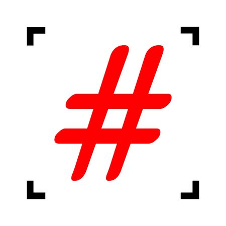 Hashtag sign illustration. Vector. Red icon inside black focus corners on white background. Isolated. Vektorové ilustrace
