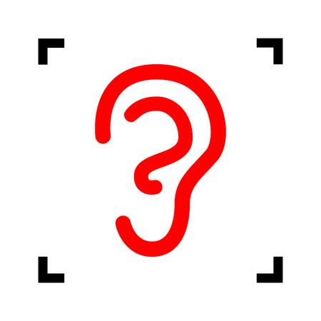 Human ear sign. Vector. Red icon inside black focus corners on white background. Isolated.