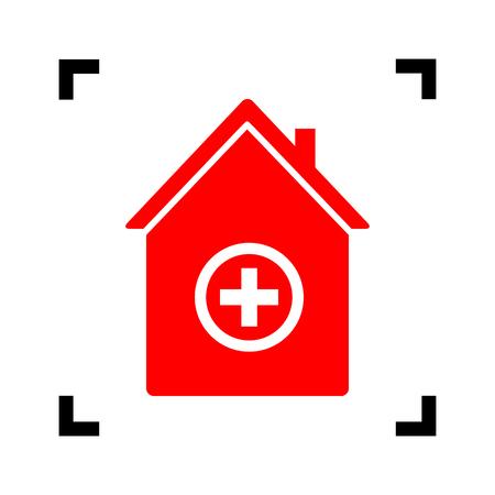emt: Hospital sign illustration. Vector. Red icon inside black focus corners on white background. Isolated. Illustration