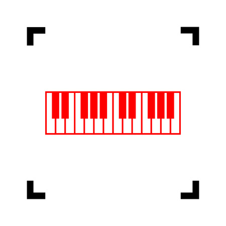 Piano Keyboard sign. Vector. Red icon inside black focus corners on white background. Isolated. Illustration